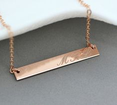 Rose Gold Bar Necklace, Monogram Bar Necklace, Personalized Necklace Bar, Horizontal Bar, Initial Bar Necklace Gold, Silver,  4x35