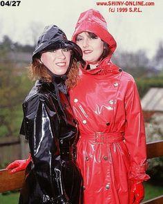 Raincoats For Women Wardrobes Red Raincoat, Vinyl Raincoat, Parka, Imper Pvc, Rain Fashion, Rubber Raincoats, Girls Together, Rain Gear, Raincoats For Women