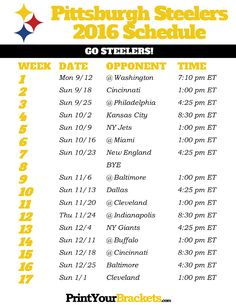 Pittsburgh Steelers Schedule - 2016