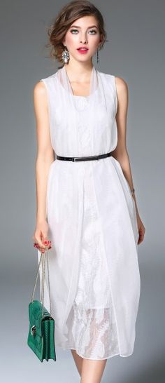 White Silk Split Front Sleeveless Midi A-line Dress
