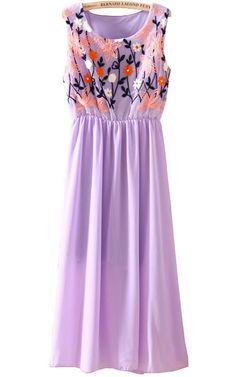 Purple Sleeveless Embroidery Pleated Dress