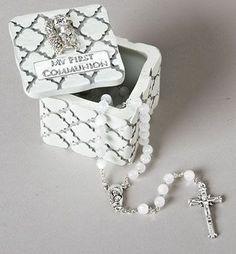"Blessed Sacrament   First Communion Keepsake Box   2-1/4"""" x 2-1/4"""" x 2"""""