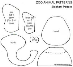 Zoo Animal Free Paper Piecing Patterns - Elephant Paper Piecing Pattern