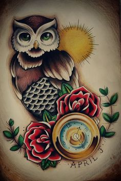 traditional owl tattoo: