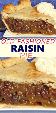 OLD FASHIONED RAISIN PIE - This pie is full of fruity and tangy goodness. Those flavors interlacing with the sugar and the cru - Easy Pie Recipes, Tart Recipes, Baking Recipes, Pastry Recipes, Yummy Recipes, Apple Walnut Pie Recipe, Raisin Pie Recipe Easy, Old Fashioned Raisin Pie Recipe, Apple Pie