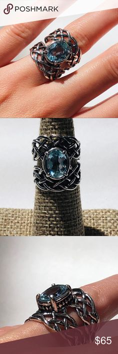7 Stone 1.75 cts London Blue Topaz Band Ring Sterling Silver Size 5 to 9
