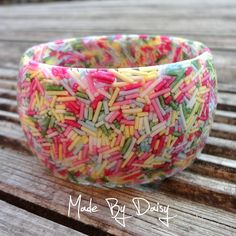 Pastel Cake Sprinkle Bangle - Resin bracelet filled with real sprinkles. Made By Daisy resin jewellery uses traditional mould making and casting