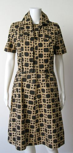 1960's Louis Feraud Abstract Brown and Black Dress and Jacket