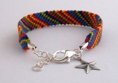 Friendship Bracelet with Charm and Clasp - Star Charm - Many colors
