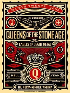 Gig poster for two great bands, Queens Of The Stone Age and Eagles Of Death Metal