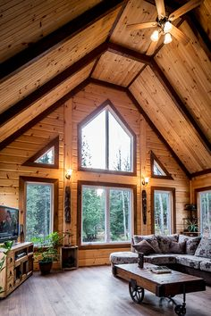 Different stain colors on your log home interior walls & big windows!!! <3