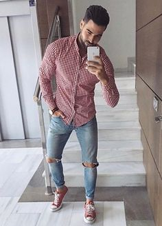 Red Button Down Shirt, Polka Dot Top, Mens Fashion, Shirts, Dresses, Women, Style, Moda Masculina, Men's