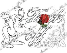 """Coloring Page """"F*ck off"""" from Sweary Colouring Book Vol 1 - Swearing words - Doodles - 2 background white and black - naughty coloring book by PicToGraphique on Etsy"""