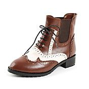 Faux Leather Chunky Heel Motorcycle Boots Oxfords/Ankle Boots With Split Joint (More Colors)