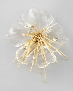 2013 SPRING TRENDS : APPARENTLY TRANSPARENT: Ophelia Fringed Pansy Brooch, Clear by Alexis Bittar at Bergdorf Goodman.