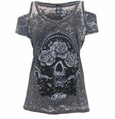 Attitude Clothing - Alternative, Gothic, Punk, Rock Clothing, Shoes, Brands + Accessories - Sullen Cory Norris Burnout Women's Top