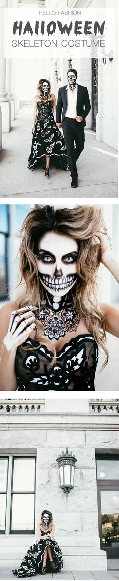 Halloween Skeleton Makeup #halloween #skeletoncostume #skeletonmakeup…