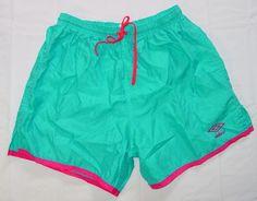 Adult Vintage Umbro Soccer Shorts sz LG Large Aqua Blue Hot Pink USA made K59 #Umbro #Shorts