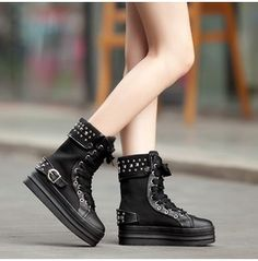 Rivets Studded Buckle Strap Laced Flat Canvas Boots