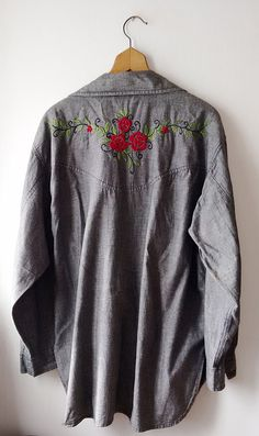 KENZO jeans vintage Embroidery Gray  Blouse shirt by DorisVintage