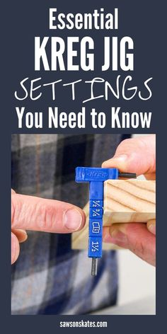 Learn how to use your Kreg Jig Like a pro with these essential pocket hole settings! Are you ready to start using a Kreg Jig? I'm sharing all of the important pocket hole instructions and essential Kreg Jig settings that you need to know! Woodworking Jig Plans, Easy Woodworking Projects, Diy Wood Projects, Woodworking Tools, Woodworking Furniture, Woodworking Equipment, Woodworking Magazines, Woodworking Techniques, Woodworking Enthusiasts