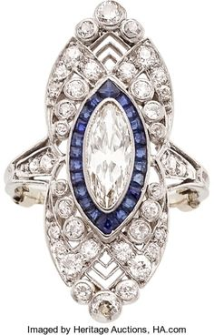 Art Deco Diamond, Sapphire, Platinum Ring The ring features a marquise-cut diamond measuring x x - Available at 2014 December 9 - 10 Holiday. Heart Jewelry, Jewelry Art, Jewelry Rings, Jewellery Box, Jewelry Ideas, Bijoux Art Deco, Art Nouveau Jewelry, Antique Rings, Antique Jewelry