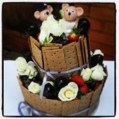 Cheese Stack with Mouse Topper Wedding Cake by Cake Sensation www.cakesensation.co.za www.facebook.com/cakesensationJhb
