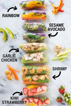 Enjoy these 5 different Healthy Spring Roll Recipes from vegetarian, protein packed, and even fruity spring rolls plus how to make a special spring roll dipping sauce for each one. These healthy spring rolls are really fun, fresh, and super easy! Asian Food Recipes, Healthy Food Recipes, Healthy Drinks, Healthy Eating, Cooking Recipes, Dip Recipes, Clean Eating, Healthy Spring Recipes, Sushi Roll Recipes