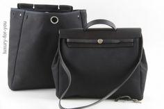 Hermès *HERBAG* Kelly  2 in 1 Tasche in Schwarz/Schwarz GM