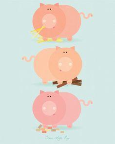 Three Little Pigs / Peanutoak Print
