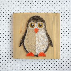 Nursery decoration penguin string art made on by GoodLights