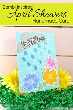 Learn how to make this Bambi Inspired April Showers Handmade Card and help celebrate Spring flowers using your Cricut and Cuttlebug. Diy Craft Projects, Fun Crafts, Crafts For Kids, Paper Crafts, Card Making Tutorials, Craft Tutorials, Linen Stitch, Cricut Cards, April Showers