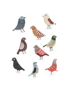 Pigeons is a print of an original work in watercolour by Elise Gravel . Each 8 x 10 inch archival quality giclée print is a signed and numbered limited ed Children's Book Illustration, Digital Illustration, Pigeon, Art Gallery, Guache, Bird Drawings, Bird Art, Fine Art Paper, Folk Art
