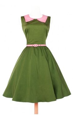 Pinup Couture- Junebugs Dress in Olive | Pinup Girl Clothing