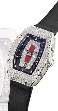 Richard Mille A LADY'S WHITE GOLD AND DIAMOND-SET TONNEAU-FORM SEMI-SKELETONIZED AUTOMATIC WRISTWATCH WITH DATE RM007 CIRCA 2010