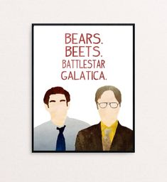 """memes jim The Office - Dwight Schrute and Jim Halpert - """"Bears. Jim Halpert, Parking Spot Painting, The Office Dwight Schrute, Dwight Schrute Quotes, Office Canvas, Office Wallpaper, Office Artwork, Office Jokes, The Office Show"""