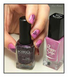 Purple - Peggy Sage + Violet Microglitter (255) - Kiko // Striping tape nails @Elle_Oh_Die