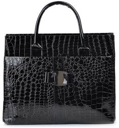 So Exotic - Black  Amazing faux croc leather handbag for only $10 on sale!