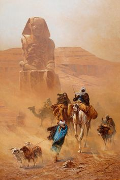 Moors on Camel in Egypt - Ludwig Hans Fischer 1891 Art Arabe, Arabian Art, Ouvrages D'art, Art Et Illustration, Egyptian Art, Art Design, North Africa, Islamic Art, A4 Poster