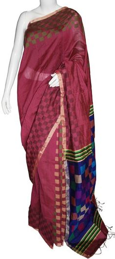 Maroon & Blue Bengal Cotton Silk Saree with Blouse