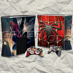 Spiderman XBOX 360 Skin Set - Console with 2 Controllers