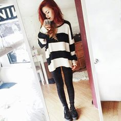 Luanna Perez Simple edgy outfit with stripes and creepers