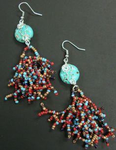 Aztec Tassel Earrings, large