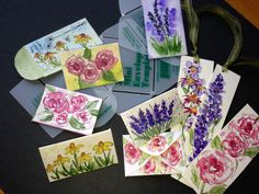 I found these mini templates for envelopes. I water colored on them. They will be fun for sharing seeds, or placing dried rose petals in them. I also watercolored some bookmarks! Watercolour Painting, Floral Watercolor, Dried Rose Petals, Bookmarks, Painted Furniture, Whimsical, Envelope Templates, Gift Wrapping, Hand Painted
