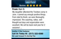 My daughter attended the Twistars camp in June. I cannot say enough positive things. From...