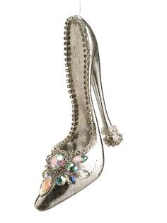This is a pretty silver high heeled shoe to decorate your Christmas tree.