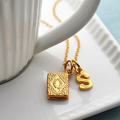 Gold Plated Custard Cream Charm Necklace - Biscuit Necklace - Custard Cream Pendant - Custard Cream Necklace - Gifts for Her, Biscuit Lover S Alphabet, Alphabet Style, Alphabet Design, Cream Necklaces, Love Heart Images, Stylish Alphabets, Whatsapp Wallpaper, Letter Charms, Beautiful Gift Boxes