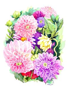 Dahlias and Flowers Watercolor Painting - by Heatherlee Chan - Lady Poppins