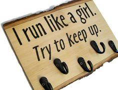 Half Marathon Medal Display.  I run like a girl.  Try to keep up.