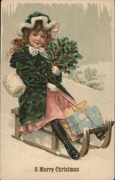 ASB Series 271 Little girl on sled with presents.